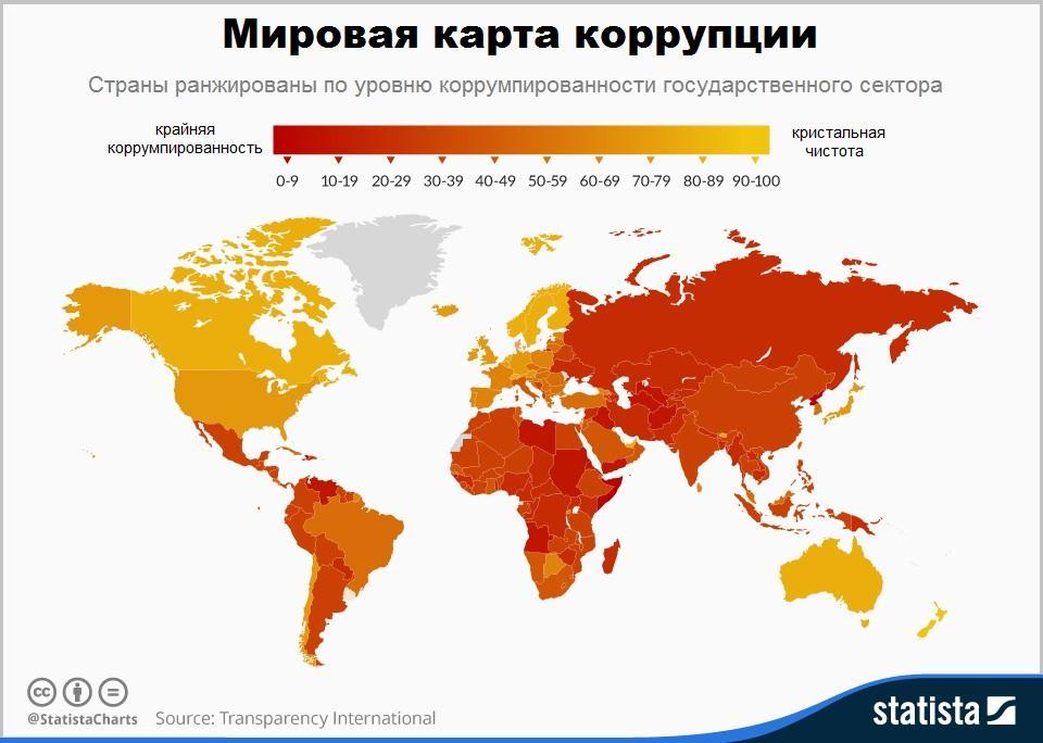 Карта коррупции от Transparency International